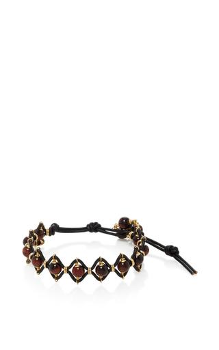 Medium camellia westbury brown leather and gems tiger eye bracelet