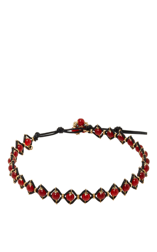 Medium camellia westbury red leather and gems bracelet 10