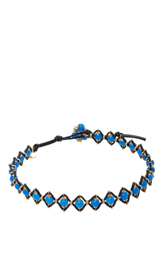 Medium camellia westbury blue leather and gems necklace