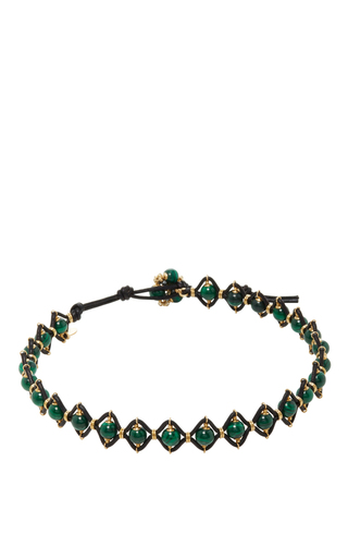 Medium camellia westbury green leather and gems necklace 2