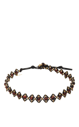 Medium camellia westbury brown leather and gems necklace 3
