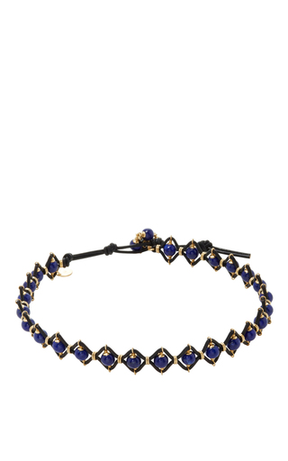 Medium camellia westbury blue leather and gems necklace 4