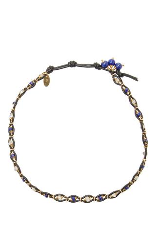Medium camellia westbury blue leather and gems necklace 5