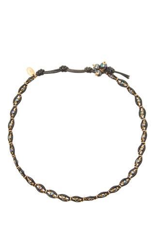 Medium camellia westbury light grey leather and gems necklace 6