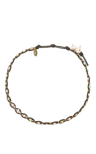 Medium camellia westbury white leather and gems necklace 7