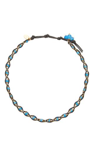 Medium camellia westbury blue leather and gems necklace 9