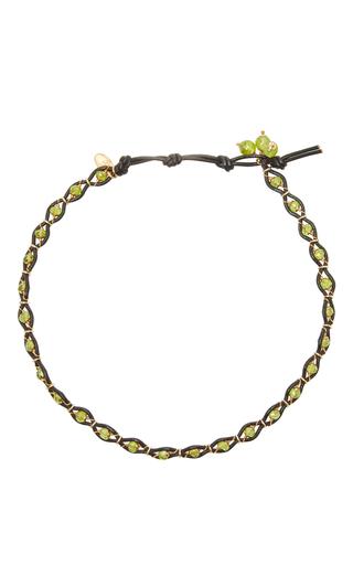 Medium camellia westbury green leather and gems necklace 10