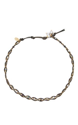 Medium camellia westbury light grey leather and gems necklace 11