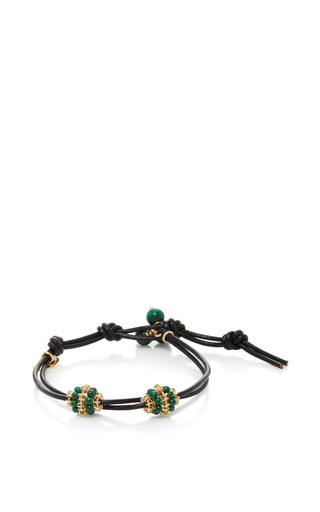 Medium camellia westbury green leather and gems bracelet 13
