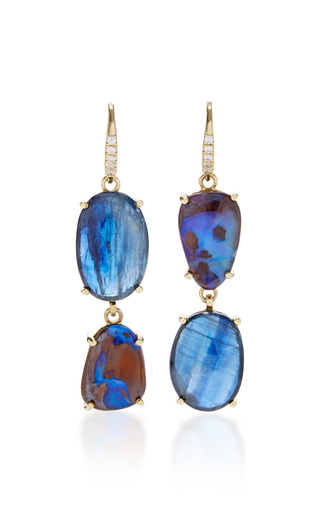Medium lauren k blue kyanite boulder opal joyce earrings