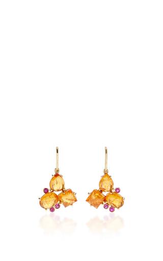 Medium lauren k orange mandarine garnet pink sapphire cluster earrings