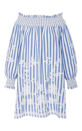 Medium juliet dunn stripe embroidered long sleeve off shoulder dress