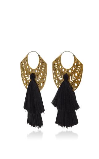 Medium jaline black emma tassel earring