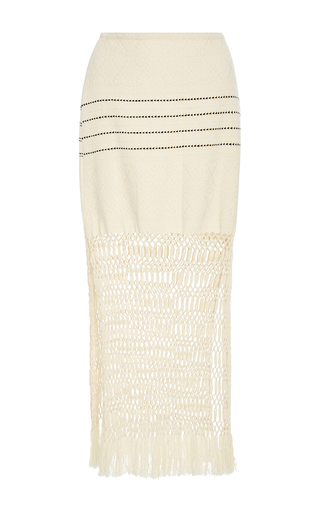 Medium jaline neutral jane handwoven and macrame skirt