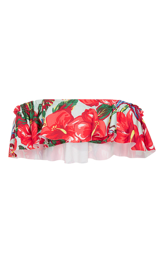 Medium salinas floral ruffle overlay bandeau bikini top