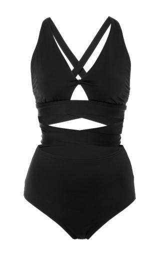 Medium proenza schouler black illusion wrap one piece swimsuit