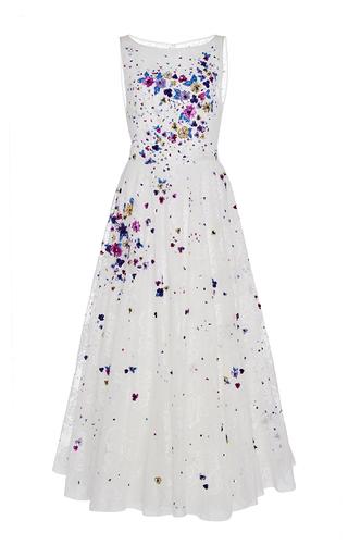 Medium georges hobeika white sleeveless floral applique dress