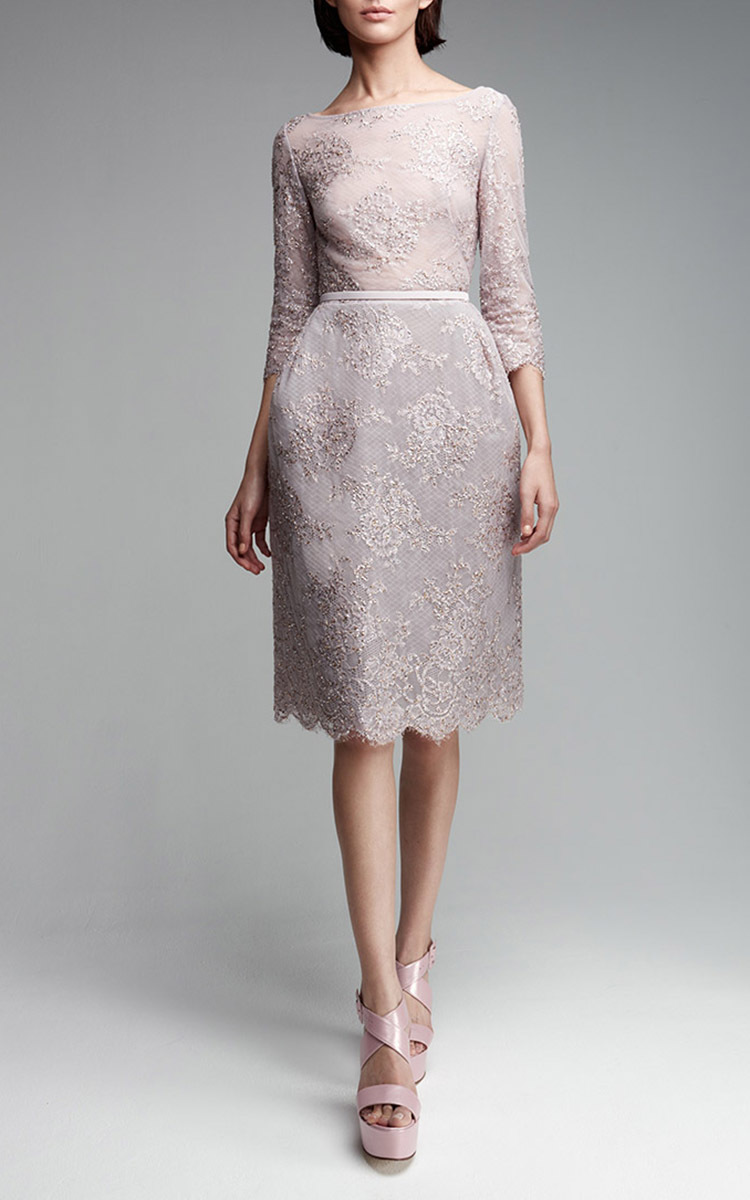 Lace embroidered pencil dress by georges hobeika moda