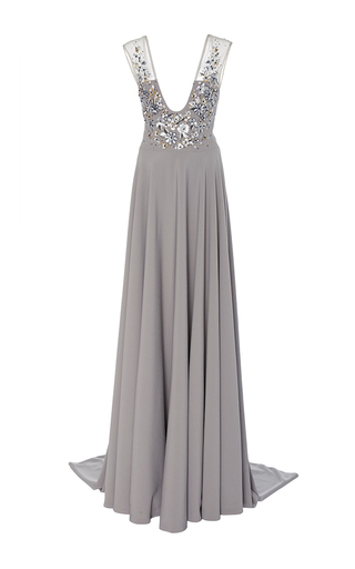 Medium georges hobeika light grey deep v embellished gown