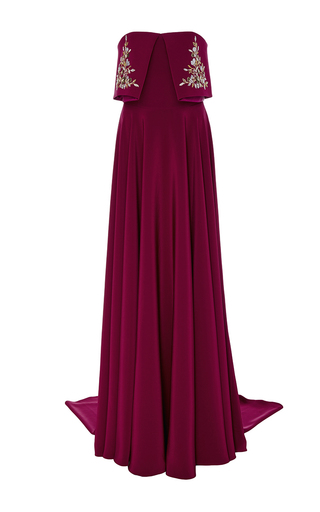 Medium georges hobeika red strapless embroidered column gown
