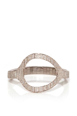Medium vanrycke silver styloide bracelet in white gold and white diamonds