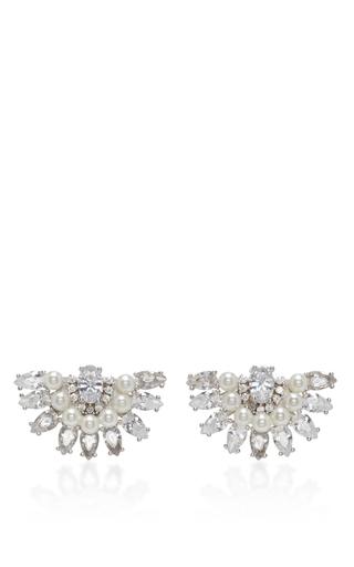 Medium fallon clear victoriana pearl fan earrings