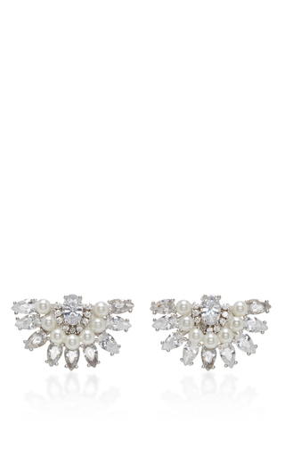 Medium fallon clear victoriana pearl fan earrings