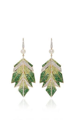 Medium hanut green cubist leaves earrings