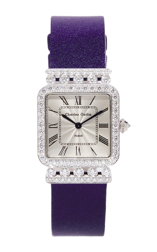 Medium charles oudin silver 18k white gold rose retro watch