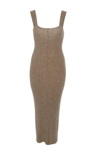 Medium lauren manoogian tan rib knit sleeveless dress