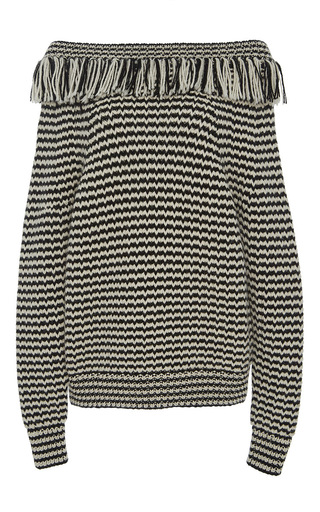 Medium eleven six stripe frida ruffle neck sweater