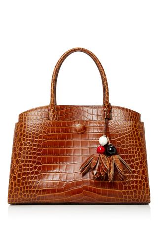 Medium paule ka burgundy crocodile printed tote bag