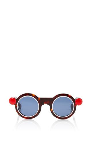 Medium paule ka black round sunglasses with red button detail