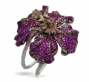 Red Hibiscus Cuff by FABERGE for Preorder on Moda Operandi