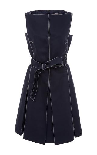 Medium paule ka navy sleeveless cotton dress with white top stitch detail and self belt