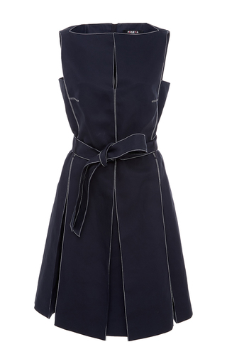 Medium paule ka navy sleeveless cotton dress with white top stitch detail and self belt
