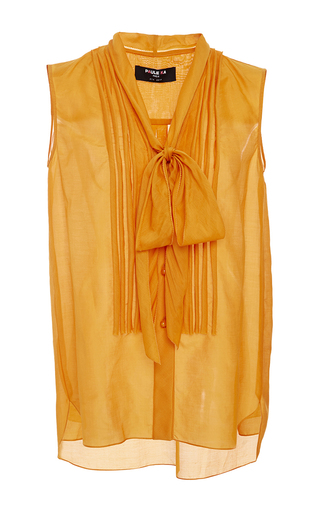 Medium paule ka yellow saffron sleeveless blouse with pleat front and tie detail