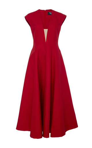 Medium paule ka red cap sleeve volumed dress with nude illusion v neck