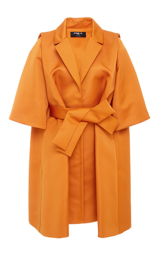 Medium paule ka yellow ottoman oversized jacket with self belt 2