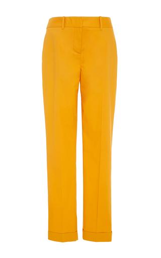 Medium paule ka yellow cotton poplin skinny trousers with pockets
