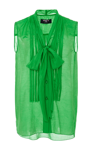 Medium paule ka green sleeveless blouse with pleat front and tie detail