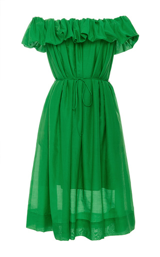 Medium paule ka green off the shoulder dress with self tie belt