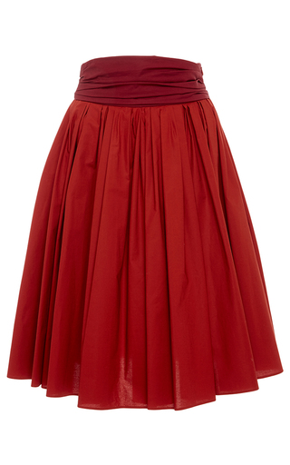 Medium paule ka burgundy cotton poplin full skirt with pockets and ruched waistband