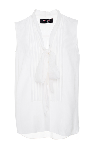 Medium paule ka white sleeveless blouse with pleat front and tie detail 2