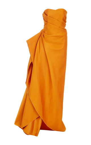 Medium paule ka orange strapless ottoman side draped gown