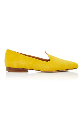 Medium le monde beryl yellow suede ballerina slippers