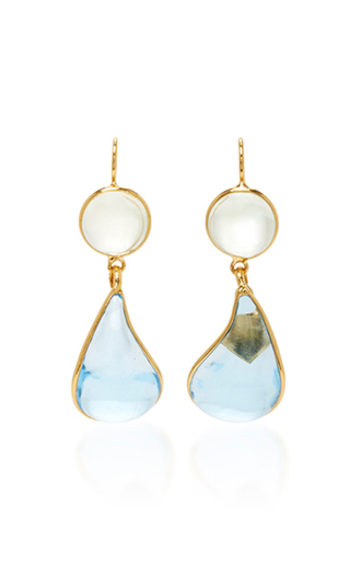 Medium loulou de la falaise blue 24k gold plated drop earrings