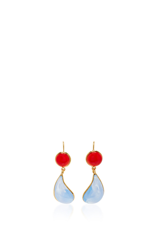 Medium loulou de la falaise blue 24k gold plated drop earrings 2