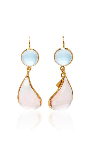 Medium loulou de la falaise pink 24k gold plated drop earrings 3