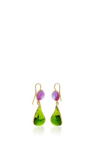 24 K Gold Plated Drop Earrings by LOULOU DE LA FALAISE Now Available on Moda Operandi